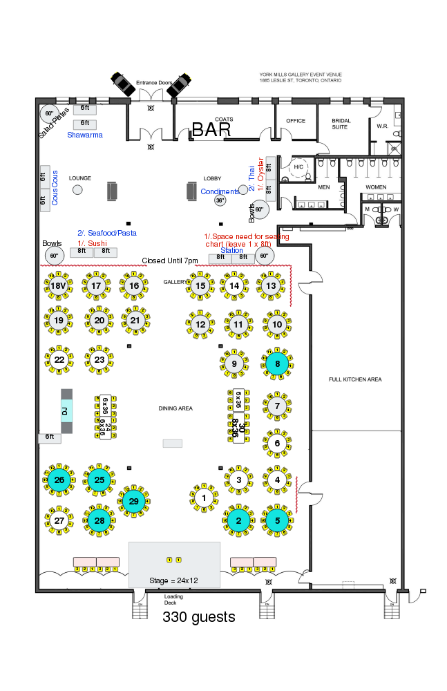York Mills Gallery - Wedding Floor Plan