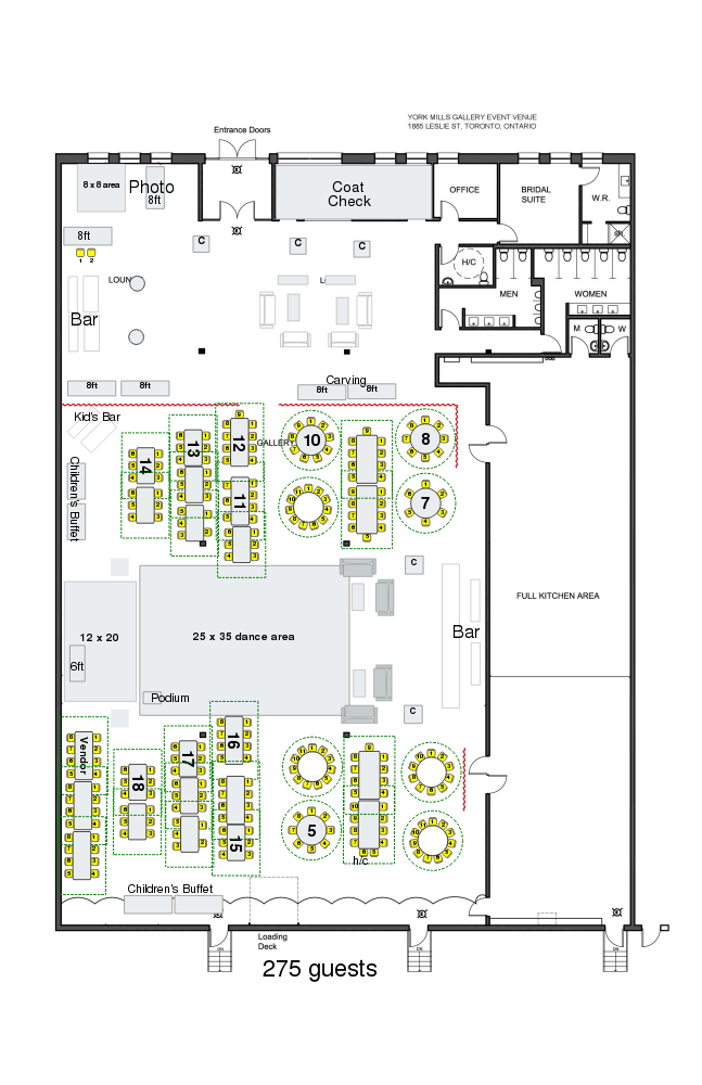 York Mills Gallery - Bar Mitzvah Floor Plan